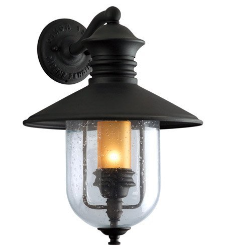 Troy Lighting Old Town 1-Light Outdoor Wall Lantern - Natural Bronze Finish and Clear Seeded with Amber Cylinder Glass