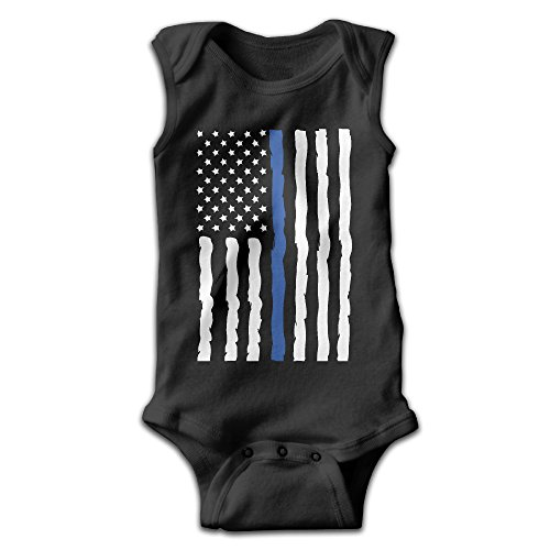 FSFUNNY Infant Sleeveless Onesies Usa American Thin Blue Line Flag Bodysuit For Baby Boy And Girl 100% Cotton (Thin Striped Onesie)