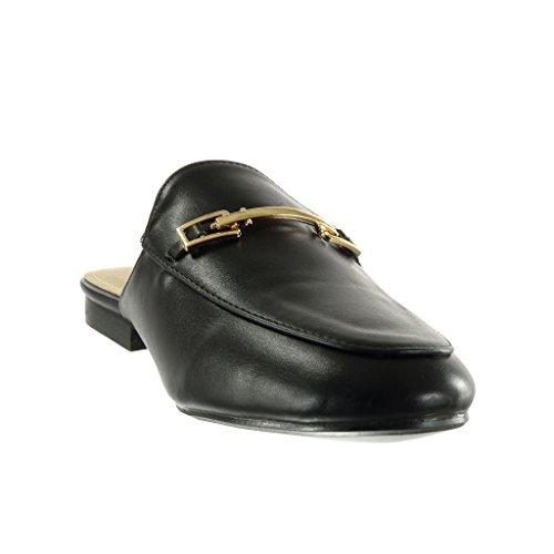 Angkorly - Zapatillas de Moda Babuchas mujer Hebilla dorado Talón Tacón ancho 2 CM - Negro