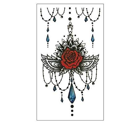 Rosas tatuaje Negro y Rojo Flash Tattoo Bc104: Amazon.es: Belleza