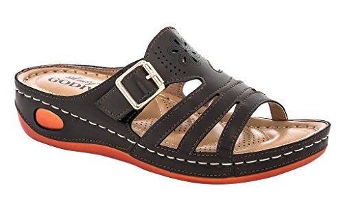 Lady Godiva Women's Brown Laser Cut-Out Detail Comfort Wedge Sandal Size: 7.5, Width: Medium