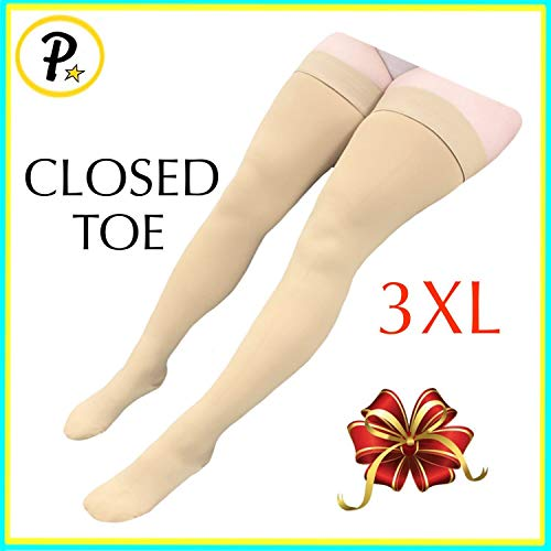 Presadee Thigh High Leg Full Length 20-30 mmHg Graduated Compression Grade Stocking Swelling Fatigue Edema Varicose Veins Support Socks Closed Toe (Beige, 3XL)