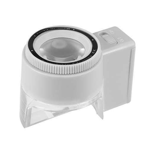 Plastic Gray Lens (uxcell® Magnifier 1 LED Light, 23mm 8X Handheld Magnifying Glass Lens Magnifier Gray)