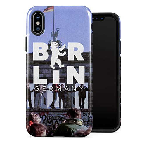 Battle of Berlin Wall Germany Deutschland Brandenburg Freedom Gate Double Layer Hard PC Armor & Shock Absorbing TPU Tough Cover Shell for iPhone X/XS Case