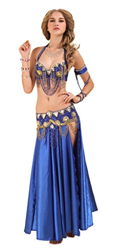 GUILTY BEAUTY Satin Belly Dance Costume,Bra Belt Skirt 3pcs Outfit,5 Colors,M,Blue -