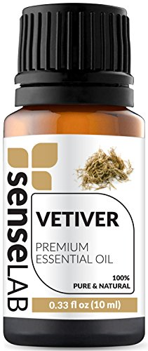 Vetiver Essential Oil by SenseLAB 100% Pure Essential Oil, Natural and Undiluted, Therapeutic Grade Essential Oil 10ml Vetiver ()