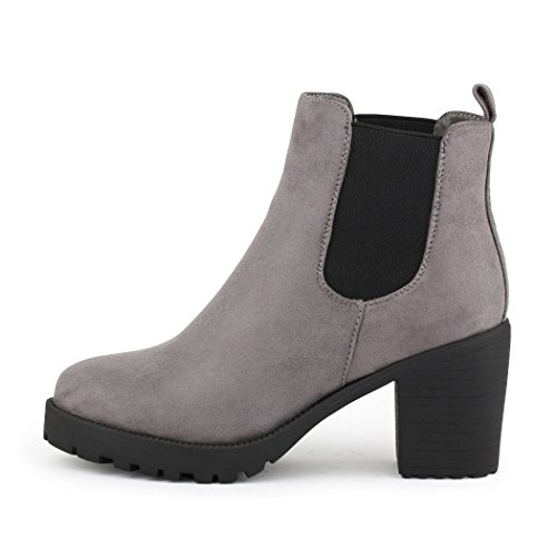 Plateau Chelsea best samt Stiefelette boots NEU Grau Boots Damen OUffwqP ... f2197d5371