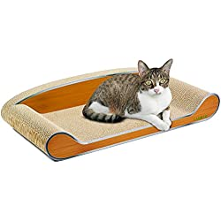 LAMBAW Cat Scratcher Couch 27.55inch Jumbo Eco-friendly Corrugated Cardboard Scratching Pads Bed Kitty Playing Lounge Rest - Protect Furniture Keep Cat Claws Healthy - Metal Wood Grain