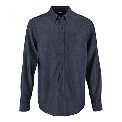 SOL'S Mens Barry Long Sleeve Denim Shirt (S) (Denim Brut)