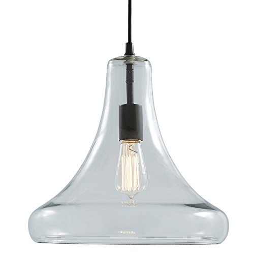 allen + roth Aged Bronze Pendant Light with Clear Glass Shade