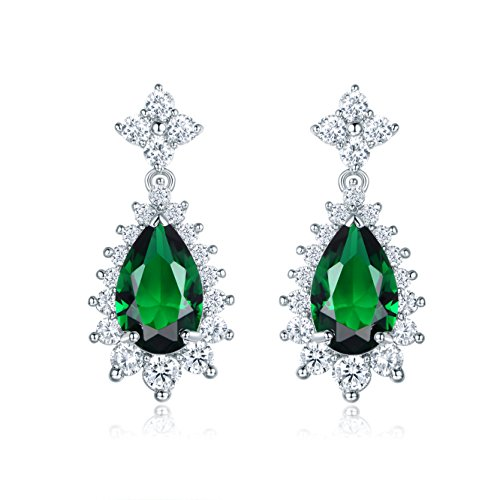 18K White Gold Plated Elegant Green Prong Teardrop Zircon Dangle Emerald Earrings for Womens Party (Gold White 18ct Plate)