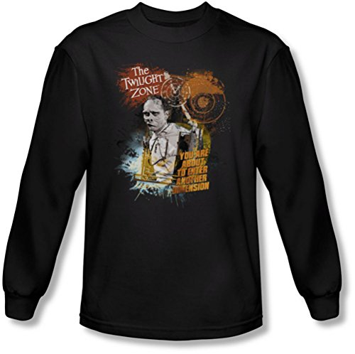 Twilight Zone - Herren Geben Sie auf eigene Gefahr Langarm-Shirt In Black, Small, Black