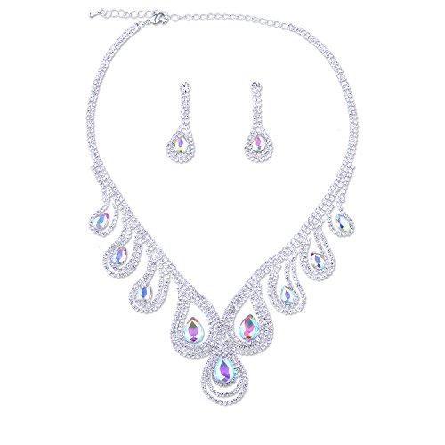 Silver Crystal Rhinestone Aurora Borealis Teardrop Necklace Dangle Earrings Jewelry Set