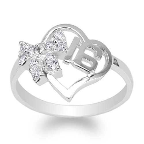 JamesJenny Womens White Gold Plated Ribbon Heart Shaped Sweet 16 Ring Size -