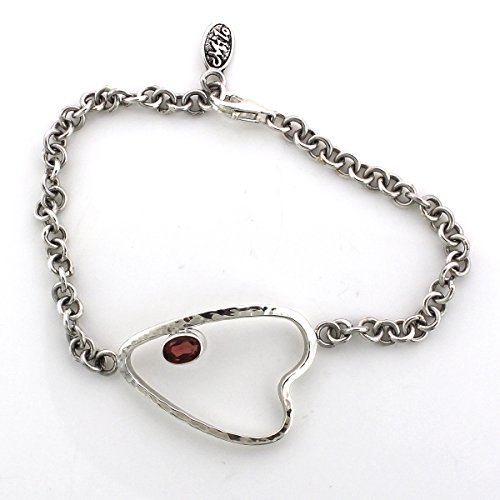 Hammered Sideways Heart Designer Sterling Silver Bracelet with Garnet