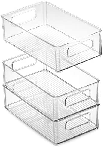 """41JiY1UtuKL. AC Set Of 6 Refrigerator Organizer Bins - Stackable Fridge Organizers with Cutout Handles for Freezer, Kitchen, Countertops, Cabinets - Clear Plastic Pantry Food Storage Rack    Keep your refrigerator, freezer, countertops, kitchen cabinet or pantry neatly organized with these stackable fridge organizer pantry storage bins. Ideal sized to fit fruits, vegetables yogurts, canned goods, food packets, cheese, meat, also good for storing dry goods in the pantry. Ideal for kitchens, countertops, pantry shelves, refrigerators, freezers, cabinets, or as drawer organizers. Practical Stackable design to help maximize your space. Stack or use them side by side to keep items organized and easy to find. Each bin measures Approx. 10"""" L × 6"""" W × 3"""" H. Great for closets, bedrooms, bathrooms, laundry rooms, craft rooms, mudrooms, offices, play rooms, garages, or any room of your home / apartment / condo / dorm room / RV or camper. Made of durable high quality 100% food safe BPA Free shatter-resistant plastic Designed with practical carry handles and interior non slip texture, clean with warm soapy water. Do not place in dishwasher"""