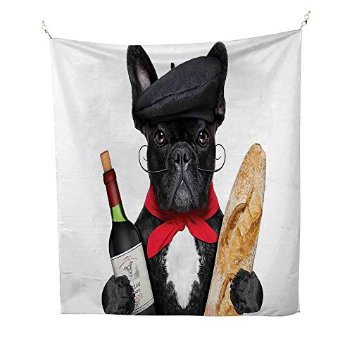 h Dog in a Hat with Red Wine and Baguette Bread Gourmet Parisienne Animal 40W x 60L inch Wall tapestryMulticolor ()