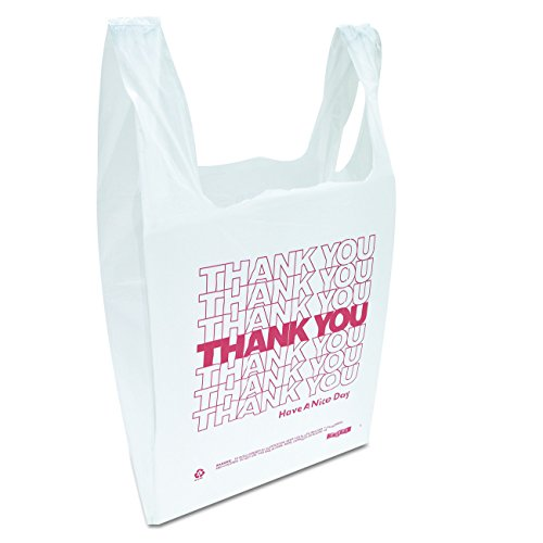 Inteplast Group THW1VAL''Thank You'' Handled T-Shirt Bags, 11 1/2 x 21, Polyethylene, White (Case of 900) by Inteplast (Image #2)