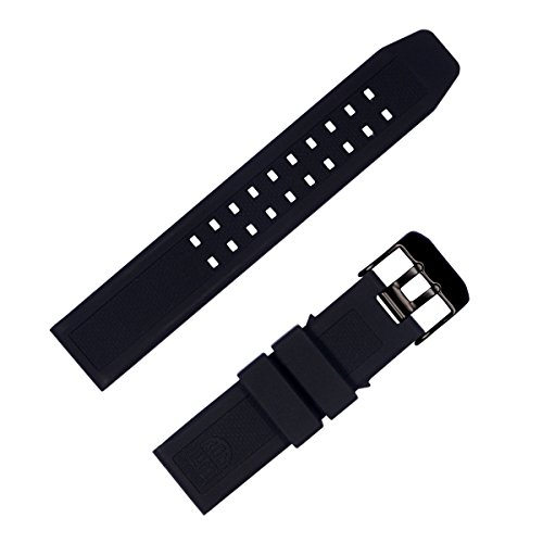 for Luminox 23mm Rubber Silicone Watch Band Strap Replacement with Black Buckle for Casio Timex Seiko Luminox 3050 8800 and 3950 Series - Luminox Watch Band ()