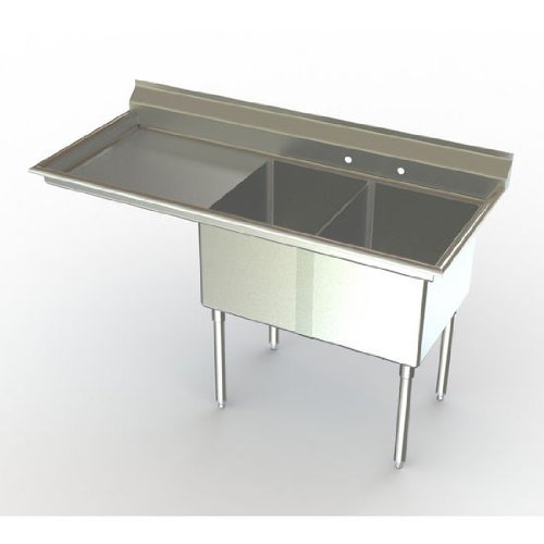 Delux Two Compartment NSF Sink with 24 x 24 inch Bowl