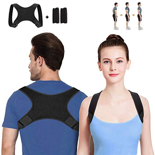 Euone Outdoor, Back Correct Humpback Muscle Spasm Posture Clavicle Corrector Brace Strap -