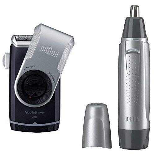 【セット買い】ブラウン 携帯用メンズシェーバー M-90 + 鼻毛カッター EN10