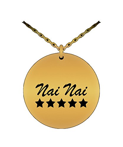 (5 Star Nai nai - Asian Grandma - Laser Engraved Round Pendant Necklace (18K Gold Plated))