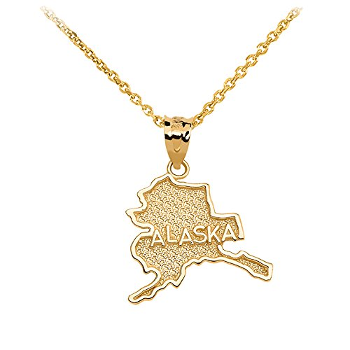 (Alaska State Map Pendant Necklace in 14k Yellow Gold, 16