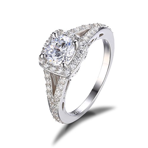 Jewelrypalace Womens 1.4ct Cubic Zirconia Engagement Ring Cz Wedding Band Anniversary Halo 925 Sterling Silver Size 7