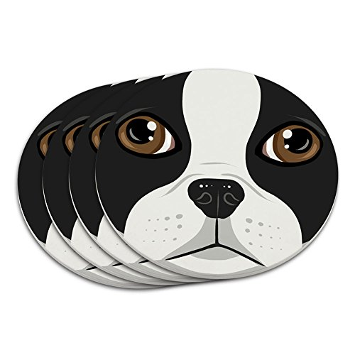 Boston Terrier Face Pet Dog Coaster Set (Terrier Dog Coasters)
