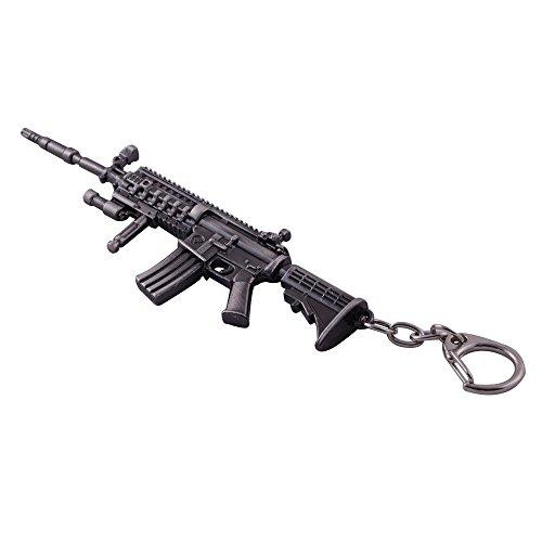 Mallofusa Miniature Gray Metal M4a1-x Assault Rifle Gun Model Keychain Bag Pendant