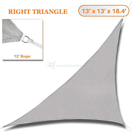 (TANG Sunshades Depot 13' x 13' x 18' Light Grey Sun Shade Sail Right Triangle Permeable Canopy Custom Commercial Standard)