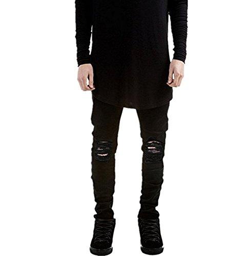 Qazel Vorrlon Mens Slim Fit Black Stretch Destroyed Ripped Skinny Denim Jeans