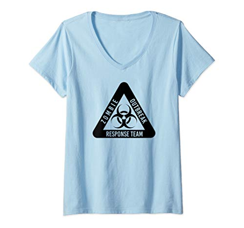 Womens Zombie Outbreak Response Team Funny Biohazard In Black V-Neck T-Shirt]()