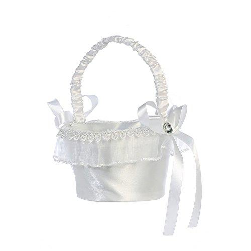 Lito White Organza Trim Satin Flower Girl Basket -