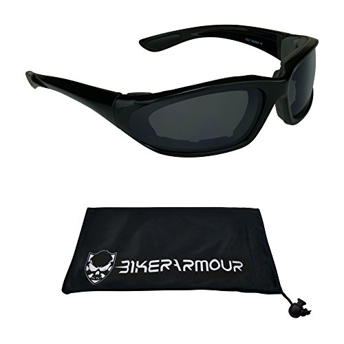 Small Motorcycle Sunglasses Foam Padded for Women, Boys and Girls. Alfer Blk smoke