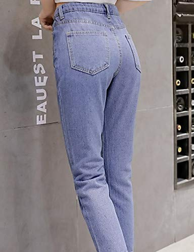 Blue Light Unita Donna Da Yfltz Tinta Cotone In Alta Pantaloni Jeans Vita SWUFqBx4Rw
