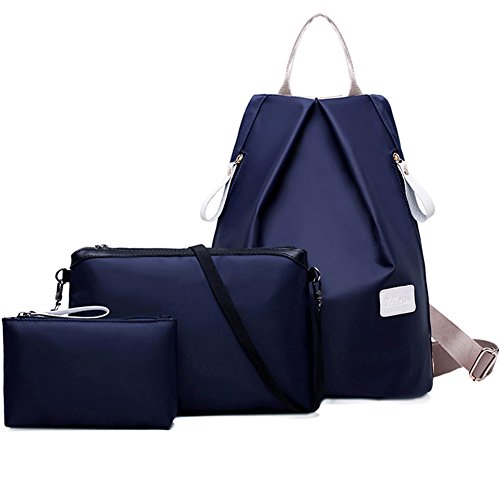 turelifes 3pcs bolsas de las mujeres impermeable paño de Oxford Mochila Bolso de mano y hombro bolsas bolso bandolera de bolso bolso bolsas para Azul