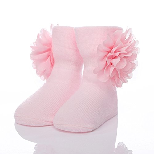 Zhhlinyuan Bebé Girls Extra Soft Comfortable Breathable Lace Flower Cotton Socks Pink