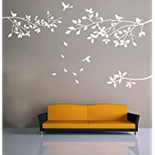 Elegant Tree and Birds Wall Decal Art Branch Wall Sticker Living Room Decoration (White, L)