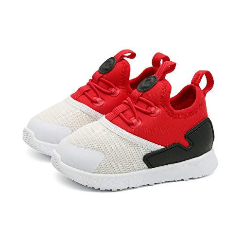 CRTARTU Baby Shoes Boys Girls Baby Sneakers Anti Slip Toddler Shoes Flexible to 0-5 Years Walking Shoes, Ivory and Red Running Shoes (Best Shoes To Wear To Play Tennis)