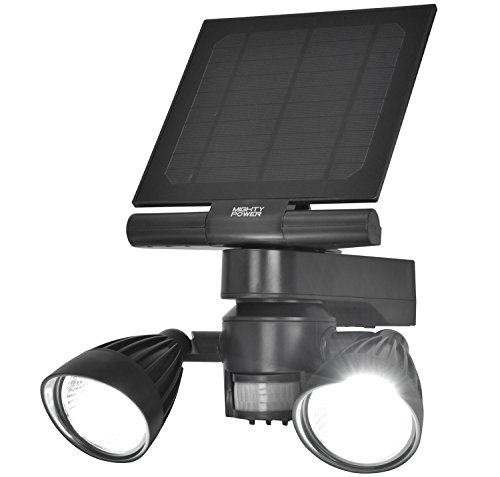 SOLAR MOTION LED SECURITY FLOOD LIGHT By Mighty Power, Weatherproof, Ultra Bright 600 Lumens of Light, Perfect For Detecting Movement, Illuminating Outdoor Walkways, Patios, Grey, 9x7.5 x 5.25 Inches