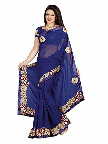 9417c4d5a1a38 Navy Blue Color Heavy Embroidery Designer Georgette Fabric Saree and Heavy  Border with Blouse  Amazon.in  Clothing   Accessories