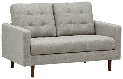 "Rivet Cove Modern Tufted Loveseat with Tapered Legs, Mid-Century, 56""W, Light Grey"