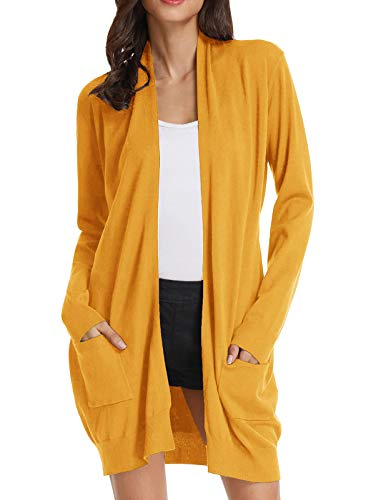 Women's Long Sleeve Open Front Knitting Kimono Cardigan Pockets (M,Bright Yellow)