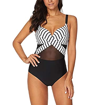 Happy GoGo Women's Mesh High Neck One Piece Swimsuit Ruched Tummy Control Swimwear