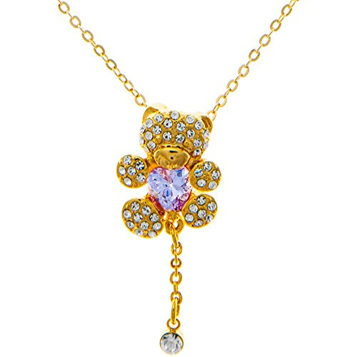 Champagne Gold Plated Necklace with Teddy Bear Design with a 16