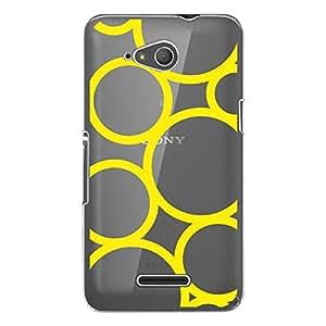 CoqueDiscount-Carcasa rígida transparente para Sony Xperia E4g, diseño de círculos de color amarillo