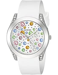 GUESS Womens Quartz Stainless Steel and Silicone Casual Watch, Color:White (Model: U1059L1)