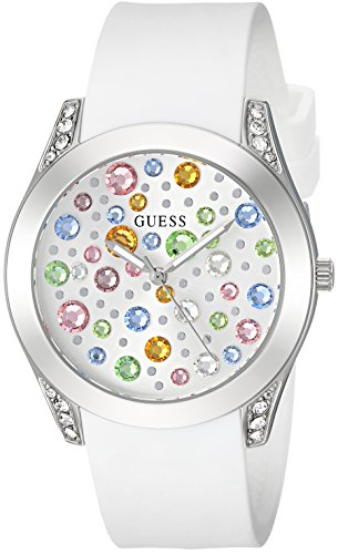 GUESS Silver-Tone and White Jeweled Watch